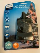 Philips Light-Sensing Countdown Timer, Outdoor Grounded Dual Outlets, Black