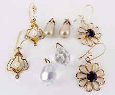 Set of 1920's-1960's Amethyst & Rainbow Crystal, and Faux Pearl Dangle Earrings