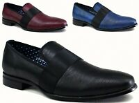 MEN'S FRONT STRAP TEXTURED SLIP ON SHOE - Smart Formal Party Jazz spat Funky