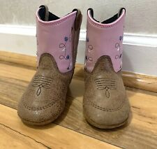 Old West Genuine Leather Soft Bottom Cowboy Western Boots Infant Size 4 Pink