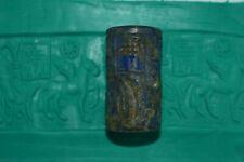 Rare Ancient Sumarian Lapis Lazuli Cylinder Seal Pendant with Multiple Engraving