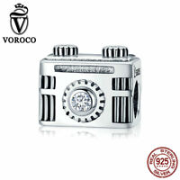 VOROCO Fashion 925 Sterling Silver Camera Charm Fit For European Charm Bracelet
