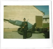 Vintage 70s 80s Kodak Instant PHOTO Military Army Man In Uniform w/ Rifle Cannon