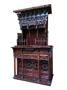Huge Complete18 Century Antique Chinese Wooden Carved Altar/Buddha House/Shrine