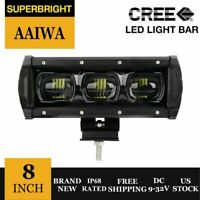 8inch 6D Single Row LED CREE Spot Flood Lamp Work Light Bar Offroad Rectangular