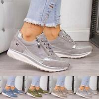 Damen Bunt Laufschuhe Freizeitschuhe Turnschuhe Sportschuhe Keilabsatz Sneaker