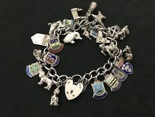 Vintage Sterling Silver Charm Bracelet with 25 Silver Charms. 65 grams!
