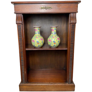 Traditional English Small Regency Style Dwarf Recessed Mahogany Open Bookcase