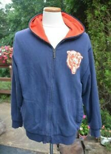 """NFL CHICAGO BEARS """"Throwback"""" by Mitchell & Ness Men's Large (44) Zip-Up HOODIE"""