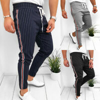 Men Striped Long Casual Striped Pants Slim Fit Pencil Trousers Jogger Sweatpants