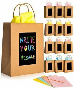 Brown Gift Bags Medium - [12 pack] 24x19x10cm Scratch Art Shopping Paper Bags
