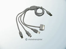 USB 4 In1 Charging Cable Cord 8-Pin/30Pin/Micro/Mini For iPhone 5/4/4S i Pad HTC