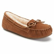 SO SUEDE MOCCASINS SLIP-ON FLATS SLIPPERS FUR LINING Sz 9 NIB $45