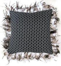Luxus Kissen Dekokissen mit Federn, Federrand, 45 cm schwarz weiß beige braun