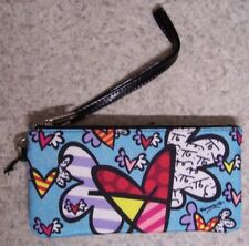 Romero Britto Wristlet Clutch Wallet & side pocket Flying Hearts NEW with strap