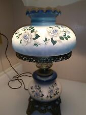 "Vintage ""Gone With The Wind"" Parlor Lamp Handpainted Roses Blue"