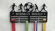Thick 5mm Acrylic Personalised FEMALE FOOTBALL 3tier Medal Hanger / holder