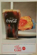 1964 Coca-Cola soda glass pizza bread things go better with coke ad