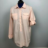 J Crew Women's Size L Peach Tunic Shirt Rolled Long Sleeve 100% Cotton