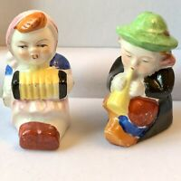"Vintage German Musical Boy & Girl Ceramic Salt & Pepper Shakers,Japan, 2"" Estate"