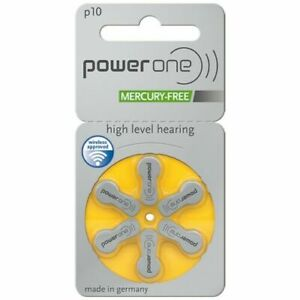 Power One Hearing Aid Batteries Size 10 - Yellow 60 batteries in total