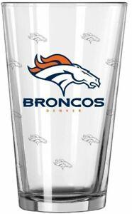 Denver Broncos 16 oz Satin Etch Logo Pint Glass (1 Glass)