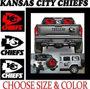 A9-5 KC KANSAS CITY CHIEFS WINDOW VINYL GRAPHIC DECAL TRUCK CAR FREE SHIP
