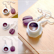 Orecchini Tazzina di Caffè ~ Cute Coffee Time Earrings Chicco Bianco Sweet Food