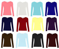 KIDS LONG SLEEVE PLAIN BASIC TOP GIRLS T-SHIRT TOPS CREW UNIFORM