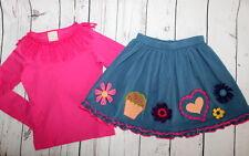 NWOT Lemon Loves Lime Grandma Stellar Blue Patches of Love Skirt & Top Girl Sz 7