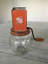 Vintage Glass and Metal Nut Grinder Orange