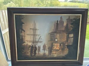 Painting Original By The Artist Don Hughes (DELON) Cornish Smugglers Street Scen