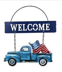 4th of July welcome Truck Hanging sign
