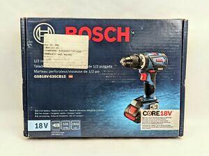 """Bosch 18V 1/2"""" Hammer Drill/Driver Kit With Bag GSB18V-535CB15 BRAND NEW - NOB"""