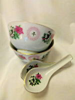 Chinese Porcelain Rice Soup Bowl with Matching Spoon - 2 bowls + 2 spoons