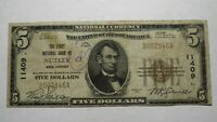 $5 1929 Nutley New Jersey NJ National Currency Bank Note Bill! Ch. #11409 RARE!