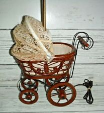 Vintage wooden baby carriage Table Light lamp nursery