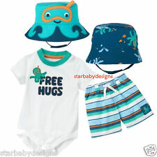 GYMBOREE OCTOPUS HUGS OUTFIT,4pc,ROMPER ,SHORTS,BUCKET HAT,0-3 Months NWT, Gift