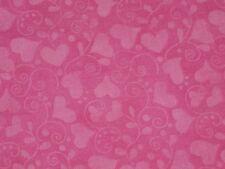 "Hot Pink cotton fabric Valentine material Heart Swirls 1Y22""x45"""
