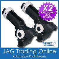 2 x H/DUTY ADJUSTABLE RATCHET SIDE & RAIL MOUNT PLASTIC BOAT FISHING ROD HOLDERS