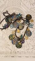 Vtg Modernist Boho Star Necklace Runway Couture Collar Tassel OOAK Charm Dangle
