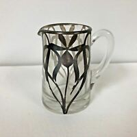 Antique Hand Blown Glass Creamer with Sterling Silver Overlay Art Nouveau Design