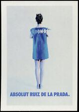 cartolina pubblicitaria PROMOCARD n.2848 ABSOLUT RUIZ DE LA PRADA VODKA  n.167