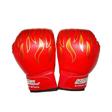 Children Kids FIRE Boxing Gloves Sparring Punching Fight Training Age 3-12 EB