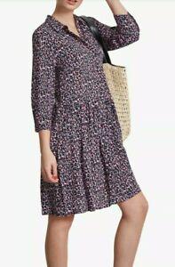 Hush Ladies Dress 8 10 12 Emanuelle Animal Print Drop Waist Casual Loose Fit