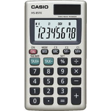 Casio 8 DIGIT Solar Pocket Calculator Tax Calculations Hs85te