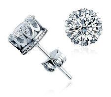Brilliant Cut Zirconium Gemstone Silver Stud Earring FREE Jewellery Box