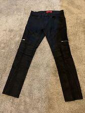Hugo Boss Men's Japanese Denim Slim Leather Trim Zipper Jean Coated Black 31/32