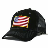USA AMERICAN Flag Hat Cap Tactical Operator Mesh Snapback Baseball Cap- Black