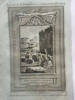 1770 Crucifixion of Christ Carrying The Cross Biblical Antique Copperplate Print